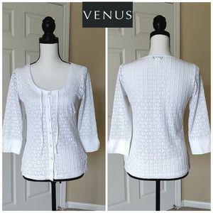 Venus scoop neck button up eyelet blouse S